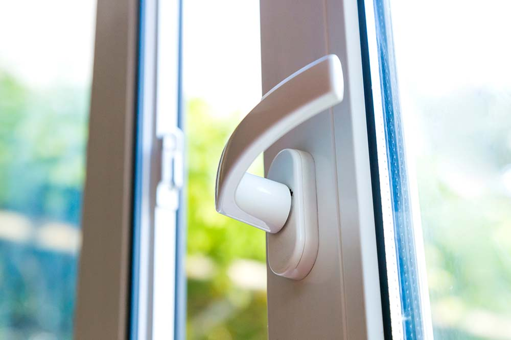 Close up image of pvc window handle