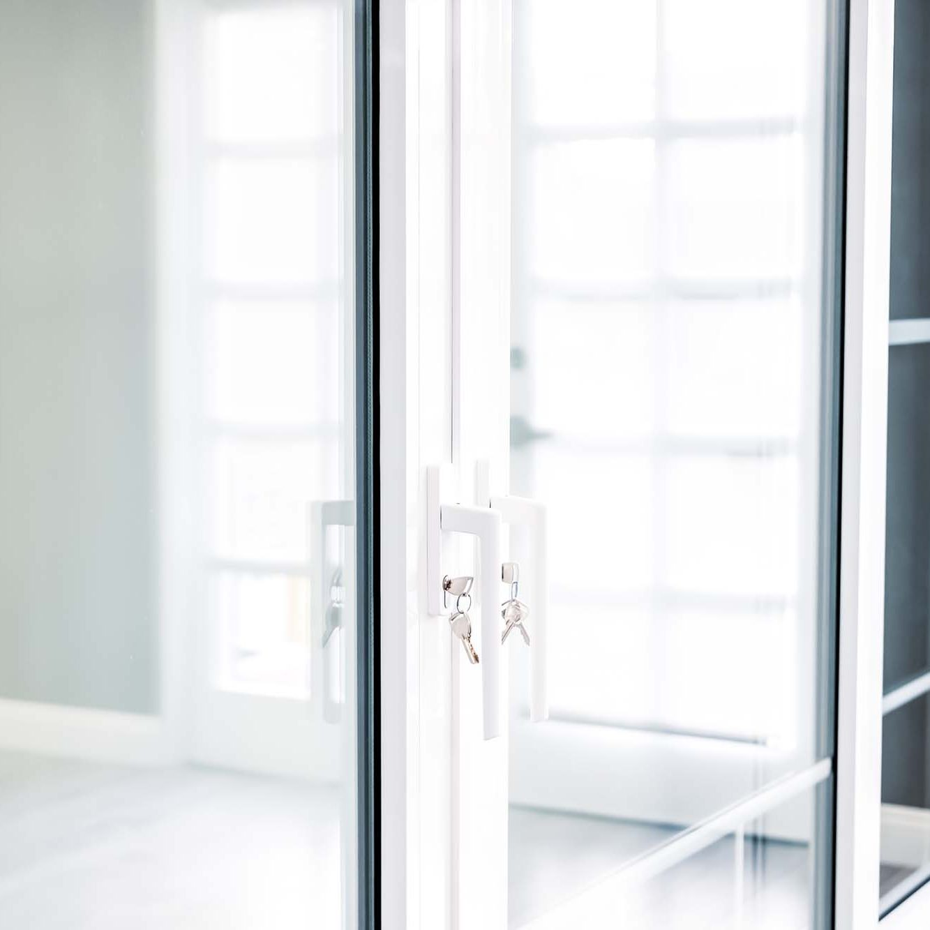 white pvc doors with keys